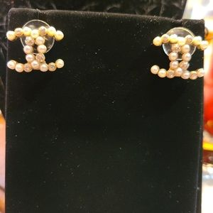 Chanel gold tone and pearl CC logo studs
